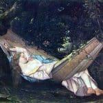 Peinture de Courbet : le rêve, représentant une femme dans un hamac