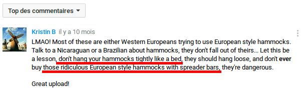 Eviter les hamacs à barres, ne pas l'attacher trop serré
